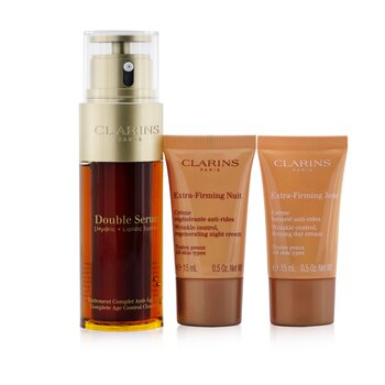 Clarins Double Serum Extra-Edition Set: Double Serum 50ml + Extra-Firming Day Cream 15ml + Extra-Firming Night Cream 15ml + Bag